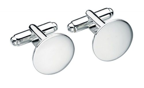 Solid Sterling Silver Plain Round Cufflinks